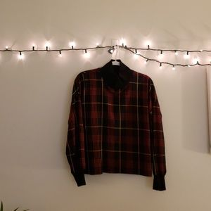 Plaid long sleeve with black collar and wrists